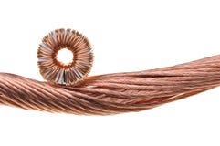 Bobina e fios de cobre imagens de stock