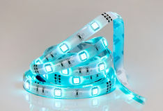 Bobina llevada de la raya azul Luces del diodo Imagenes de archivo
