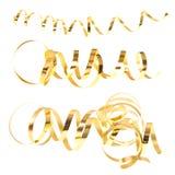 Bobinadores de cintas en modo continuo serpentinos de oro aislados en blanco Fotos de archivo