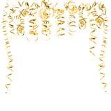 Bobinadores de cintas en modo continuo serpentinos de oro aislados en blanco imágenes de archivo libres de regalías