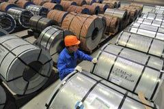 Bobinas de aço do armazém do aço de folha Imagem de Stock