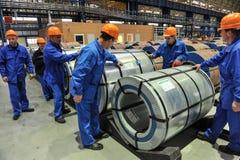 Bobinas de acero de Warehouse del acero de hoja Imagen de archivo libre de regalías