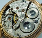 Bobinas de exhibición abiertas antiguas del reloj de bolsillo fotografía de archivo