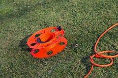 Bobine colorée de cordon d'énergie électrique Photo stock