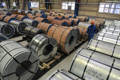 Bobine d'acciaio del magazzino della lamiera di acciaio Immagine Stock
