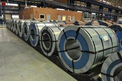 Bobine d'acciaio del magazzino della lamiera di acciaio Fotografie Stock Libere da Diritti