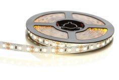 Bobine d'une bande de diode avec la lumière chaude images libres de droits