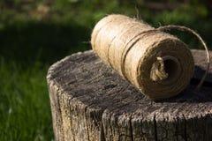 Bobine de corde sur le fond vert Bobine de corde Hank de la ficelle l Images libres de droits
