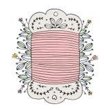 Bobine de couture tirée par la main de fil de vecteur florale Photo stock