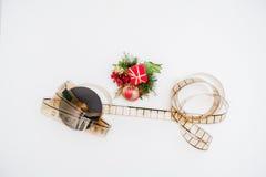 Bobine de film avec la décoration de Noël Photos stock