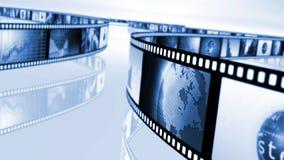 Bobine de film noire et bleue Photos libres de droits