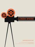 Bobine de pellicule cinématographique et illustration d'affiche de vintage d'extrait de film Images stock