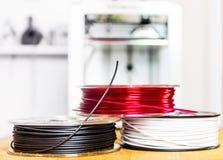 Bobines des polymères de l'impression 3D Images libres de droits