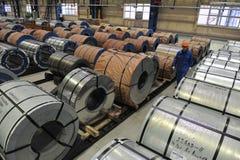 Bobines en acier d'entrepôt d'acier de tôle Image stock