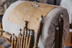Bobiny koronki wyposażenie dla handmade rzemiosła Zdjęcia Stock