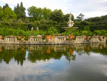 Boboli Gardens Florence Italy. Giardino di Boboli are lavishly landscaped gardens behind the Pitti Palace in Florence Italy. The park hosts centuries-old oak Stock Photos