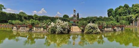 Boboli Gardens Lake and Fountain in Florence Stock Image