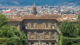 Boboli ogródy parkują timelapse, fontannę Neptune i odległego widok na Palazzo Pitti w Florencja, Włochy zbiory