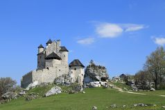 Bobolice castle, Poland. Bobolice castle - old fortress in Poland. Landmark in Europe Stock Image