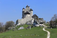 Bobolice castle, Poland. Bobolice castle - old fortress in Poland. Landmark in Europe Royalty Free Stock Photo