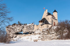 The Bobolice Castle in winter Stock Photo