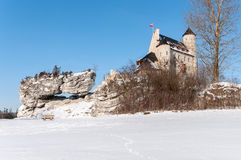 The Bobolice Castle in winter Royalty Free Stock Photos