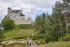BOBOLICE, POLAND - JULY 16, 2017: Medieval castle in Bobolice on Royalty Free Stock Photos