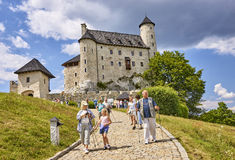BOBOLICE, POLAND - JULY 16, 2017: Medieval castle in Bobolice on Stock Photography