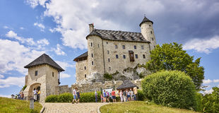 BOBOLICE, POLAND - JULY 16, 2017: Medieval castle in Bobolice on Royalty Free Stock Images