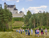 BOBOLICE, POLAND - JULY 16, 2017: Medieval castle in Bobolice on Royalty Free Stock Photography