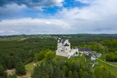 Free BOBOLICE, POLAND - MAY 05, 2020: Aerial View Of Castle Bobolice, One Of The Most Beautiful Fortresses On The Eagles Nests Trail. Stock Photos - 181813183