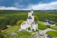 Free BOBOLICE, POLAND - MAY 05, 2020: Aerial View Of Castle Bobolice, One Of The Most Beautiful Fortresses On The Eagles Nests Trail. Stock Image - 181813231
