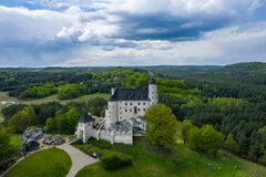 Free BOBOLICE, POLAND - MAY 05, 2020: Aerial View Of Castle Bobolice, One Of The Most Beautiful Fortresses On The Eagles Nests Trail. Stock Photo - 181813260