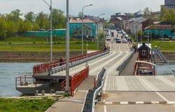 Bobrenevskiy pontoon bridge, Kolomna. Bobrenevskiy pontoon bridge over the Moscow river, Kolomna Royalty Free Stock Image