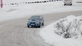 BOBRUISK, ΛΕΥΚΟΡΩΣΙΑ 2 ΦΕΒΡΟΥΑΡΊΟΥ 2019: Αυτοκίνητο που συναγωνίζεται στη χιονισμένη διαδρομή ΧΕΙΜΕΡΙΝΟ ΤΑΝΓΚΟ απόθεμα βίντεο