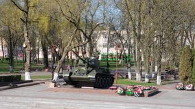 Bobruisk, Belarus - April 22, 2020. Soldiers are preparing a tank monument for the victory parade.
