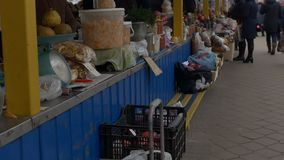 BOBRUISK, BELARUS - 22 NOVEMBRE 2018 - marché de nourriture, les gens marchent et choisissent les fruits et légumes, MOIS lent banque de vidéos