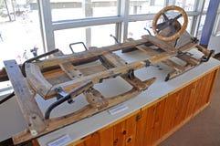 Bobsled antiguo en el museo olímpico de Lake Placid, los E Fotos de archivo