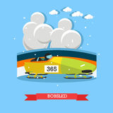 Bobsled concept vector illustration in flat style Royalty Free Stock Photo