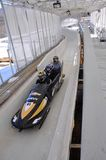 Bobsled dans le composé olympique de sports de Lake Placid, Etats-Unis Photos libres de droits