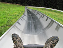 Bobsled from first person view Stock Photos