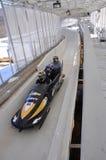 Bobsled nel complesso olimpico di sport del Lake Placid, S.U.A. Fotografie Stock Libere da Diritti