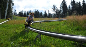 On the bobsled run Royalty Free Stock Photo