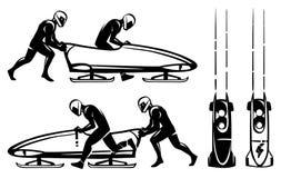 Bobsleigh i dwa atlety w profilu szczotkarski węgiel drzewny rysunek rysujący ręki ilustracyjny ilustrator jak spojrzenie robi pa royalty ilustracja