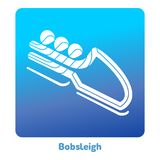 Winter games icon. Bobsleigh icon. Olympic species of events in 2018. Winter sports games icons,  pictograms for web, print and other projects. Vector Royalty Free Stock Image