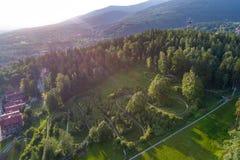 Bobsleigh Kolorowa szlakowy widok z lotu ptaka obraz royalty free