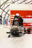 Bobsleigh puchar świata Calgary Kanada 2014 Fotografia Royalty Free