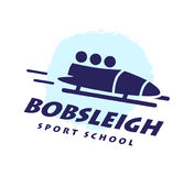 Bobsleigh school emblem. Winter sport logotype. Vector flat simple logo design  on white background. Human active sport athlete figure silhouette Royalty Free Stock Image