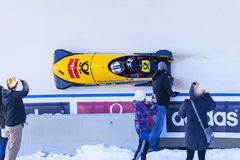 Bobsleigh World Cup Calgary Canada 2014. CALGARY CANADA, DEC 21 2014 : FIBT Viessmann Bobsleigh and Skeleton World Cup in Calgary Olympic Park stock images