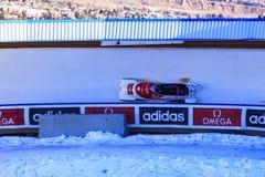 Bobvärldscup Calgary Kanada 2014 Arkivbild